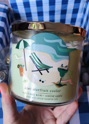 Свеча на 3 фитиля kiwi starfruit cooler от bath and body works