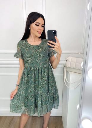 Платье летнее с принтом  шифон