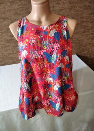 Яркая женская вискозная блузка  безрукавка от promod.