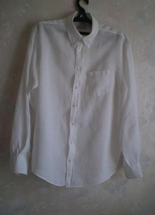 Белая мужская льняная рубашка davinci р.50-52 лен италия, дефект