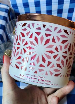 Свеча на 3 фитиля raspberry mimosa от bath and body works