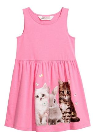 Сукня рожева котики та кролик h&m р.98/104, 110/116, 122/128, 134/140см