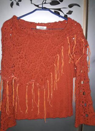 Яркий  шерстяной свитер, джемпер. состояние нового. 46 -48 размер+ еще один в подарок