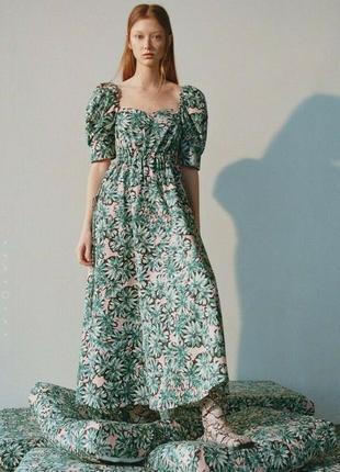Поплінова сукня з принтом zara платье пышное с рукавами фонариками