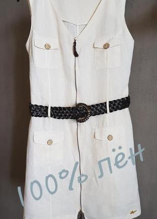 Белое льняное платье, 100% лен