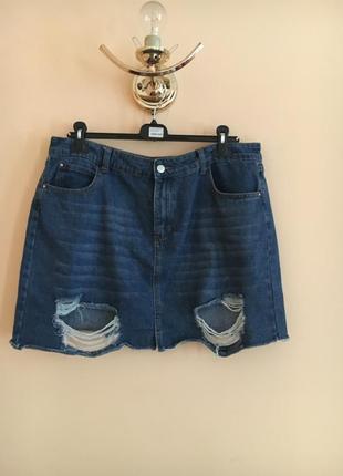 Батал большой размер стильная рваная джинсовая юбка юбочка спидниця