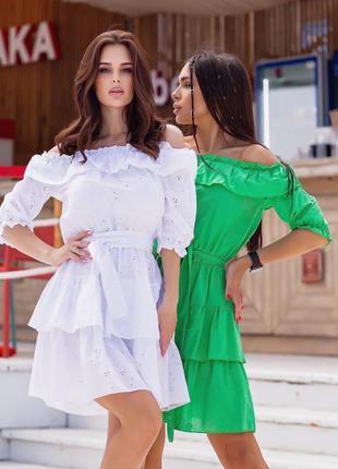 Супер платья, р. 42,44,46,48, коттон х/б прошва, белый и зеленый
