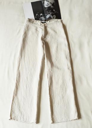 Базовые светло бежевые льняные брюки штаны женские dutch, размер xl, xxl
