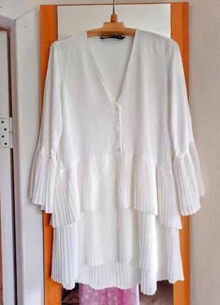 Блузка рубашка туника zara белая размер m,s