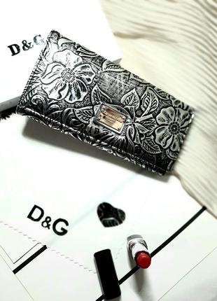 Кошелек кожаный серебро с черным как чеканка цветы магнит
