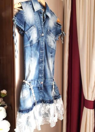 Зручна джинсова сукня