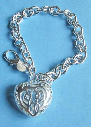 Ажурный браслет сердце в серебре 925 покрытия, новый