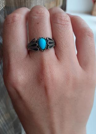 Винтажное кольцо из мельхиора с бирюзой