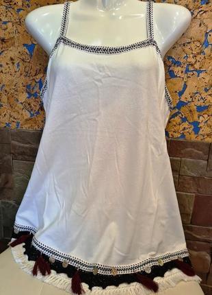 Натуральная летняя блузка-майка в стиле «бохо», marks & spencer, uk 16, блуза, рубашка, кофточка