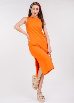 Платье миди с разрезом сбоку