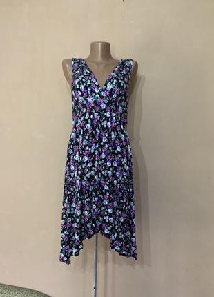 Платье сарафан летнее в цветочный принт  коттон
