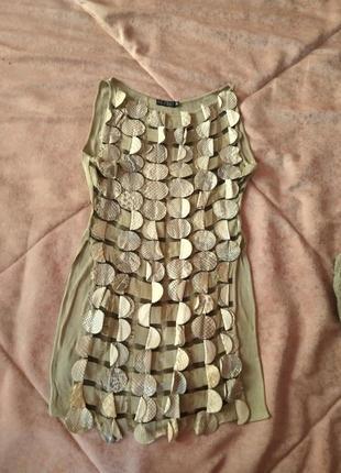 Костюм (майка и брюки клеш) оливковый с кожей
