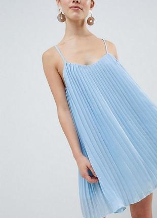 Платье плиссе небесно-голубого цвета