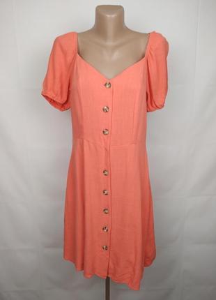 Платье новое нежное коралловое льняное f&f uk 12/40/m