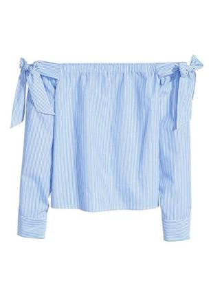 Рубашка в полоску с открытыми плечами h&m 34