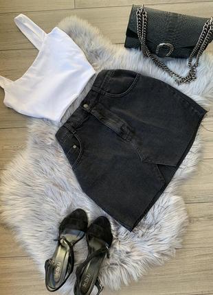 Юбка джинсовая чёрная goldi