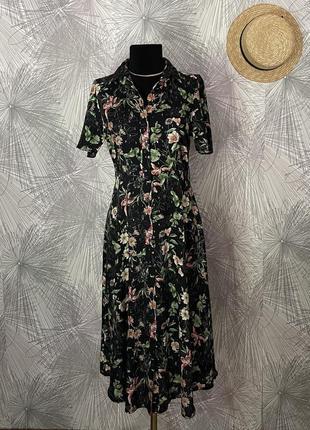 Очень крутое стильное платье миди с цветочным принтом в идеальном состоянии🖤 f&f🖤