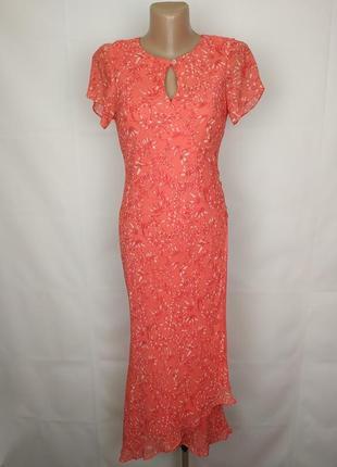 Платье шелковое шикарное в пол uk 8/36/xs