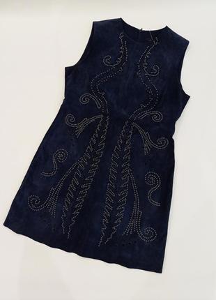 Платье zara натуральный мягкий замш, кожаное платье