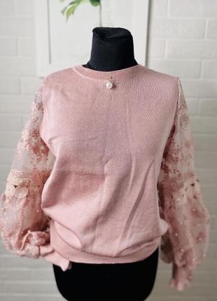 Трикотажный свитер женский цвет палатной розы