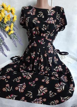Платье летнее штапель цветочный принт с поясом приталенное на молнии рукав бабочка