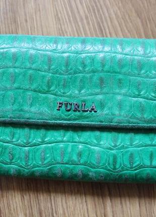 Кожаный кошелек furla green genuine leather wallet