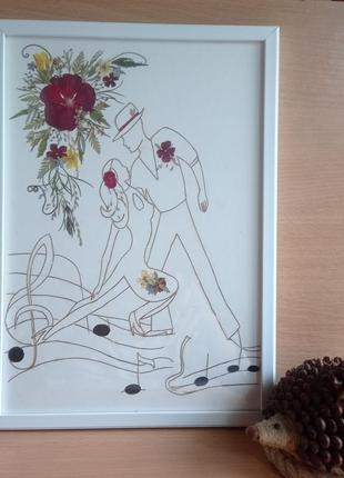 """Картина з пресованих рослин в техніці ошибана (графіка) """"танго"""""""