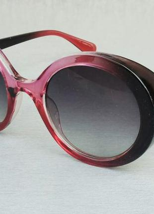 Очки женские солнцезащитные большие большие круглые серо бордовые с градиентом
