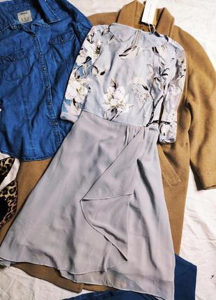 Tendency платье серое в белый цветочный принт новое рукав 3/4