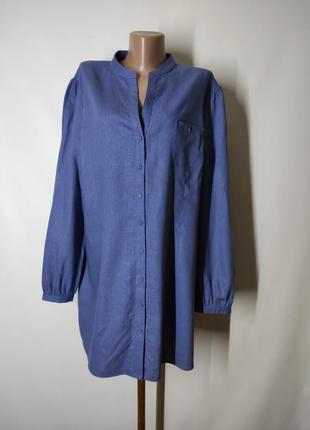 Сизая льняная рубашка лен и вискоза uk 20
