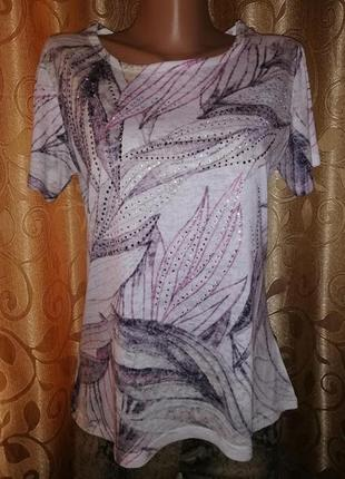 🌷🌷🌷красивая женская трикотажная футболка со стразами classic🌷🌷🌷