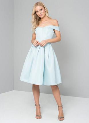 Chi chi london платье голубое мятное с открытыми плечами пышная юбка на фатине коктельное