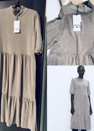 Новое серое платье zara м воланы