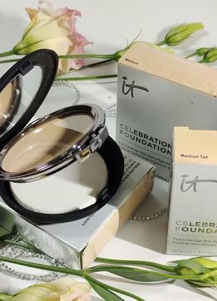 Пудра it cosmetics celebration foundation full coverage anti-aging hydrating powder foundation