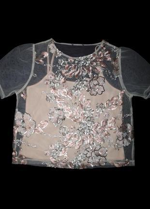 Футболка блуза женская s m топ украшена вышивкой пайетками пудровая шикарная блестящая