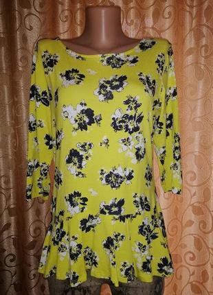 🌺🌺🌺яркая трикотажная женская кофта, блузка, джемпер с баской 14\42 размера george🔥🔥🔥