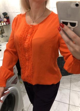 Шелковая блузка , длинный рукав , talking french silk