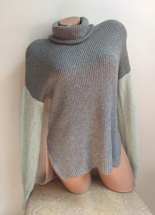 Свитер. пуловер. туника. пудровый, мятный, серый, персиковый.