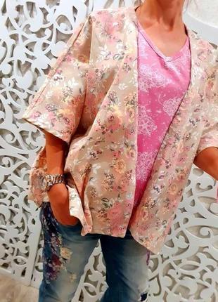 Лот комплект одежды майка l и пиджак оверсайз tchibo нежные узор хлопковый