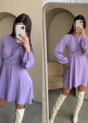 Летнее женское платье с имитацией пояса лаванда