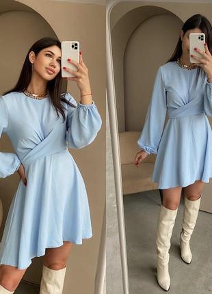Стильное женское платье с имитацией пояса голубой
