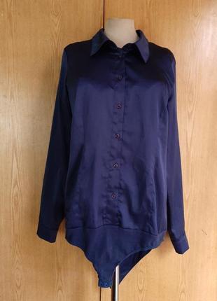 Синяя атласная блузка,  комбидрес, l/12. only & sons
