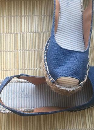 Удобные эспадрильи-сандалии, текстиль +кожа,