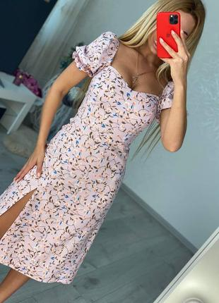 Женские платья миди с разрезом цветочный принт