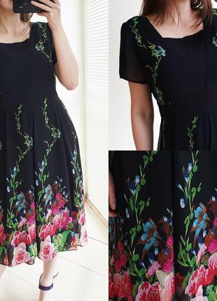 Шифоновое платье в цветы миди